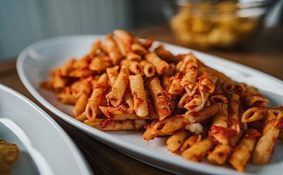Pasta on plate.